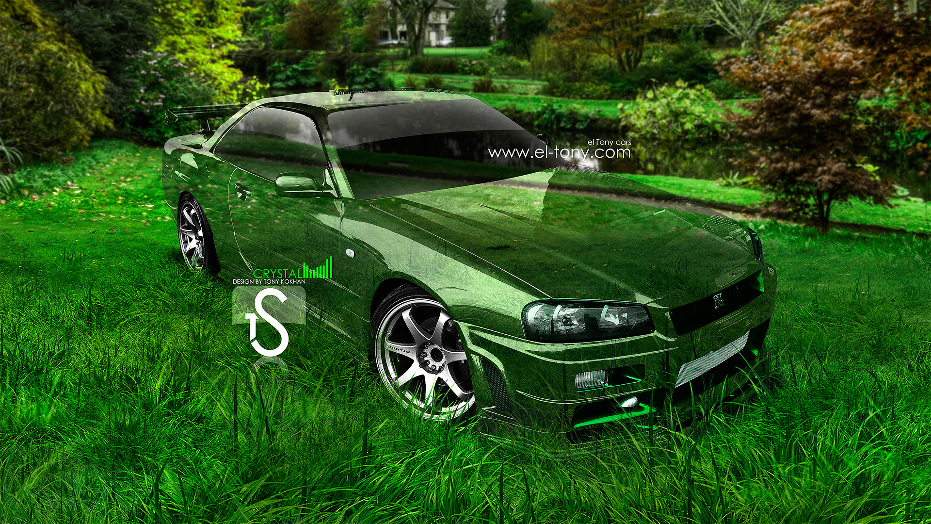 Lovely Nissan GTR R34 Crystal Car 2013 Nature Grass