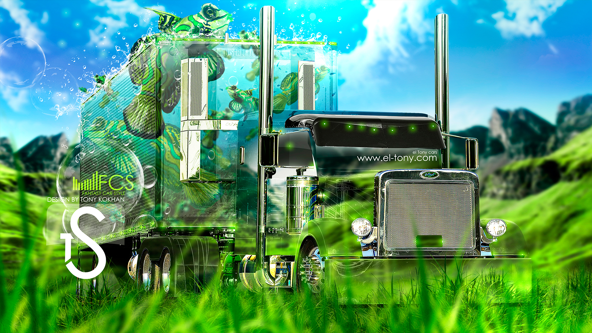 Captivating Peterbilt Truck Fantasy Fish Up Crystal Car  2013 HD Wallpapers By Tony Kokhan [www.el Tony.com]