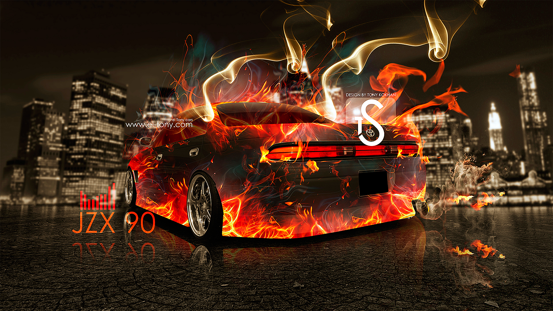 Toyota Mark 2 JZX90 Fire Car  City Smoke 2013 HD Wallpapers 1920×1080 [www.el Tony.com]