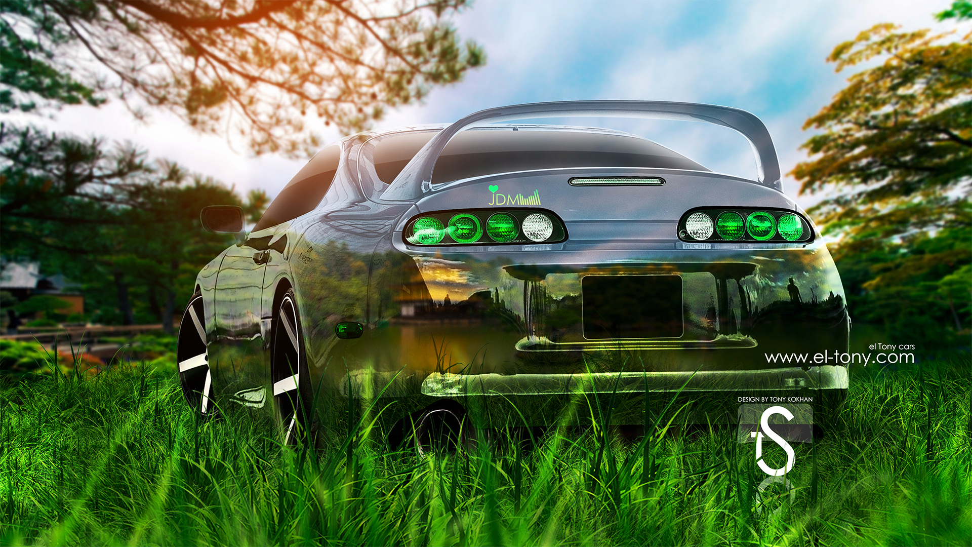Toyota Supra JDM Back Green Crystal Nature Car