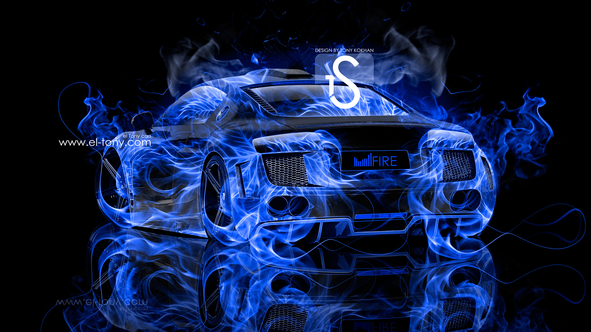 ... Audi R8 Blue Fire Car Abstract 2013 HD  ...