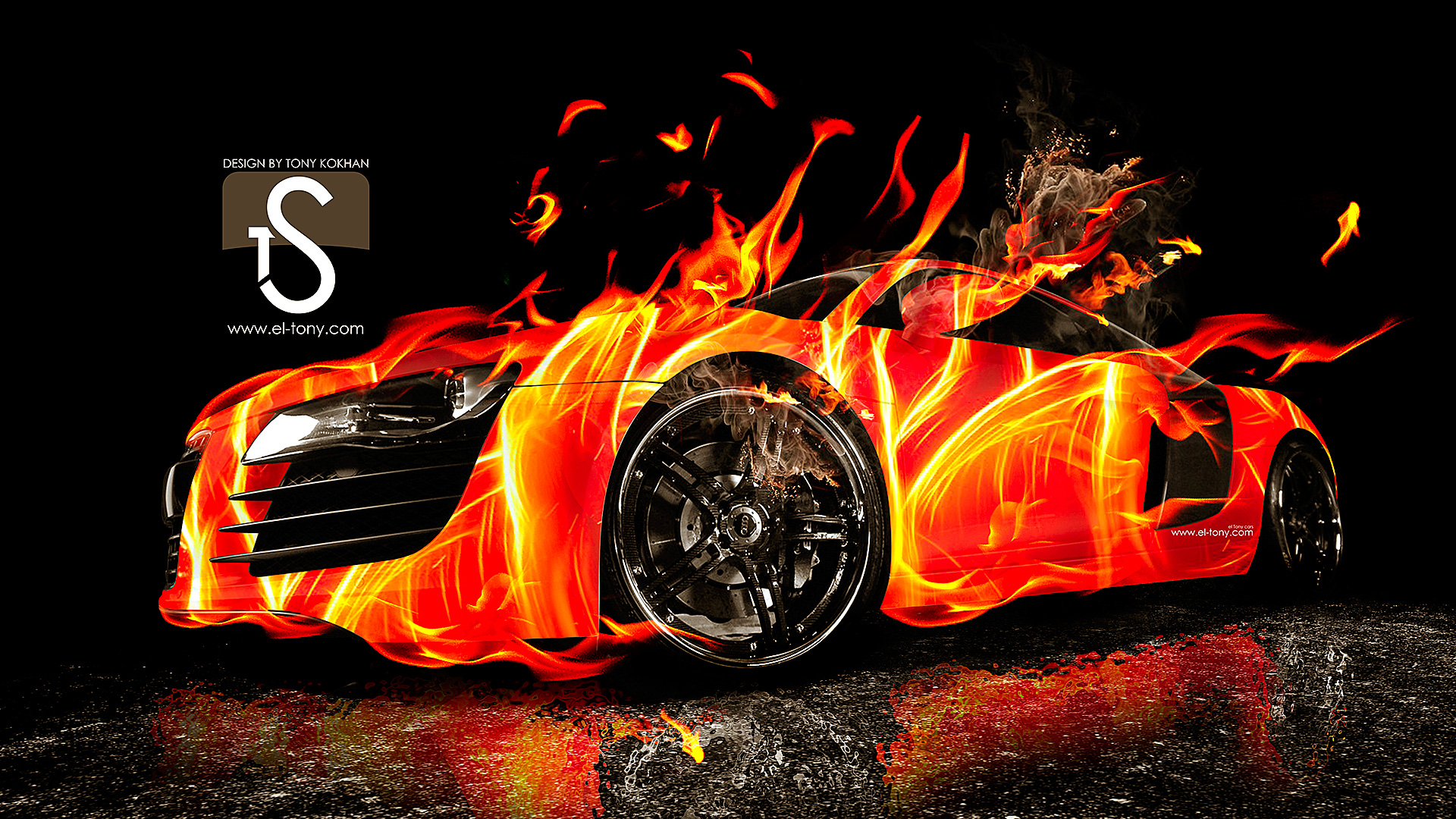 Marvelous Audi R8 Fire Car Abstract 2013 Front Side