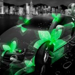 Audi R8 Neon Flowers Fantasy City 2013