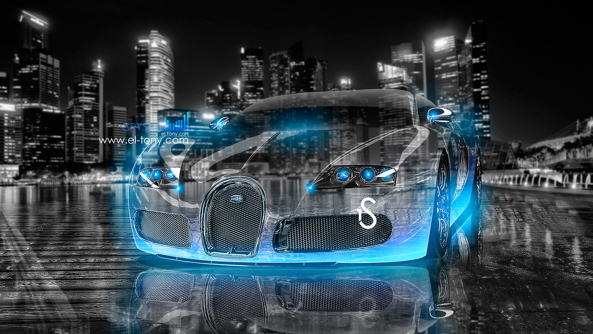 Bon ... Bugatti Veyron Crystal City Car 2013 Blue Neon  ...