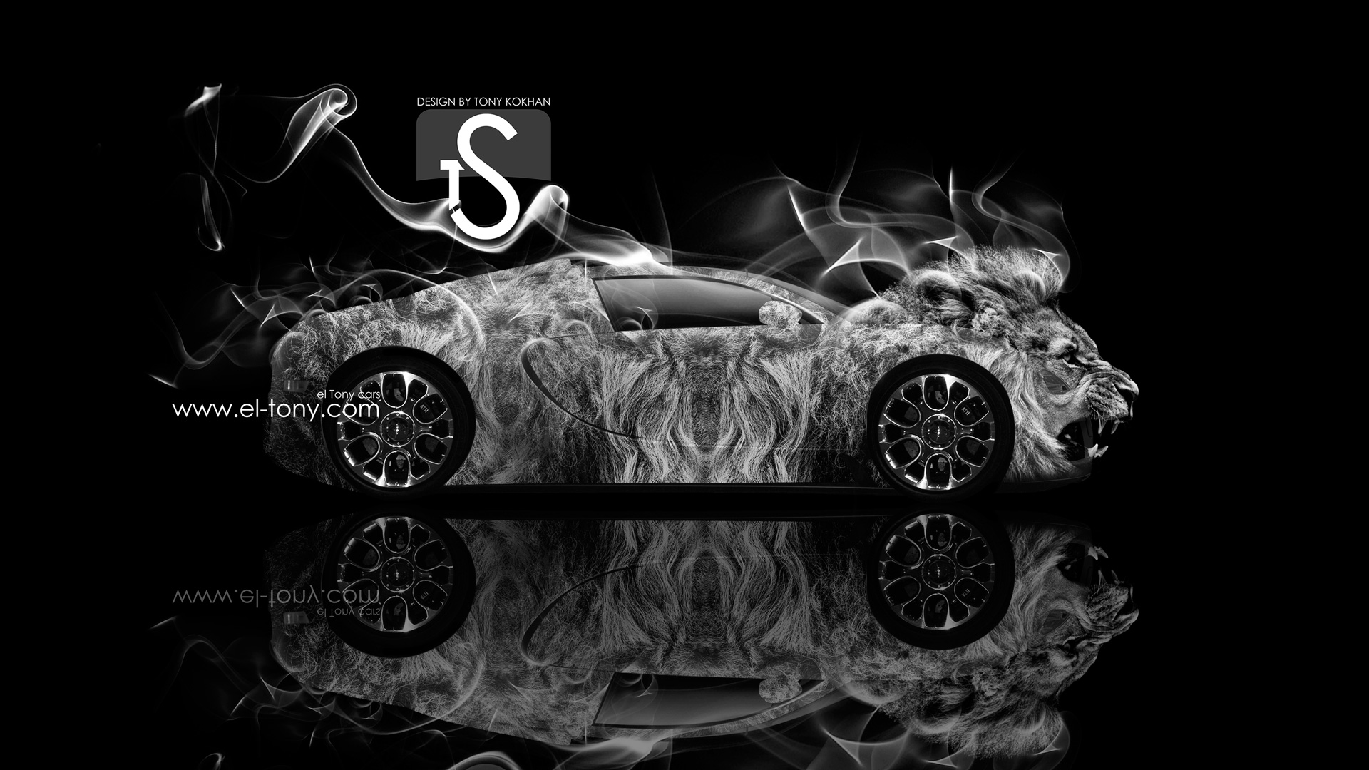 Etonnant Bugatti Veyron Lion Smoke Power Car 2013 Silver