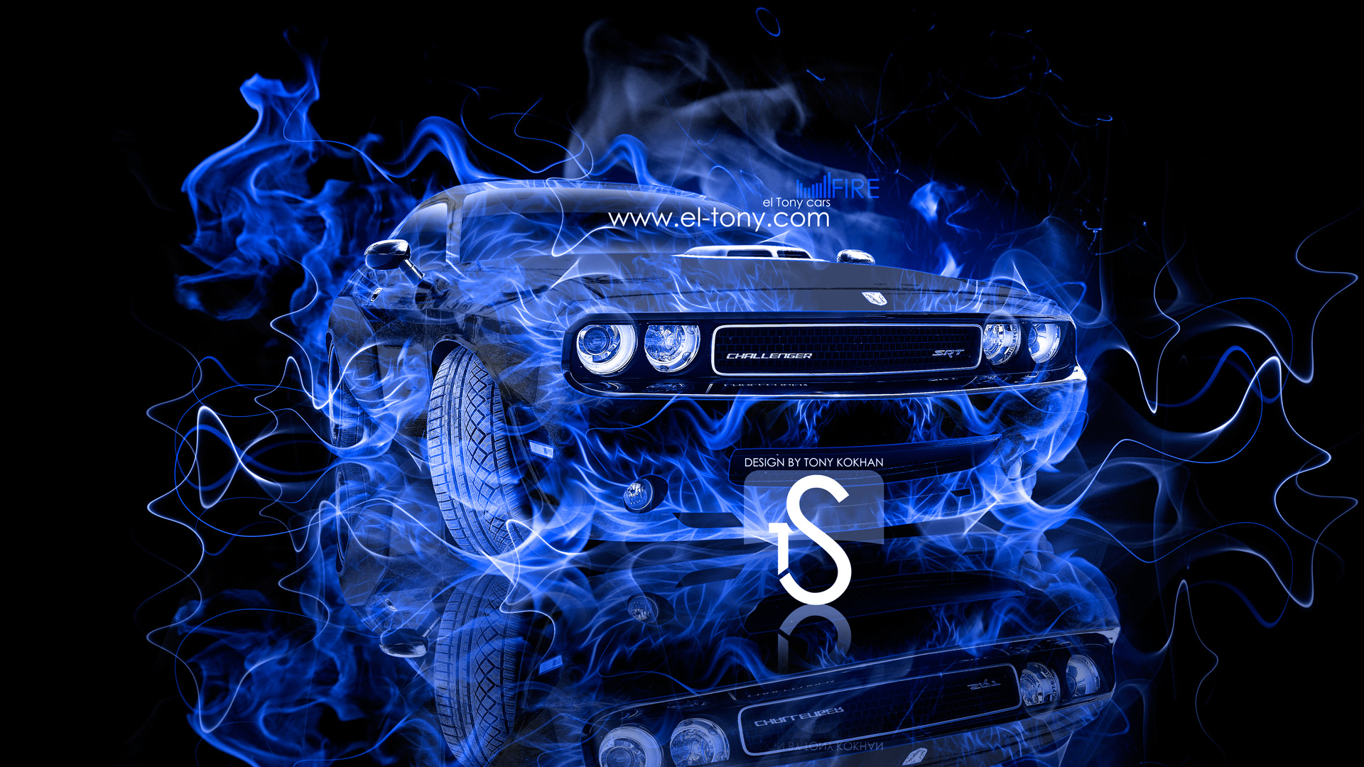 Dodge Challenger Muscle Blue Fire Car 2013 HD  ...