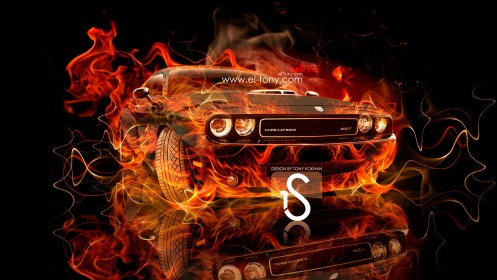 Dodge-Challenger-Muscle-Fire-Car-2013-HD-Wallpapers-design-by-Tony-Kokhan-[www.el-tony.com]