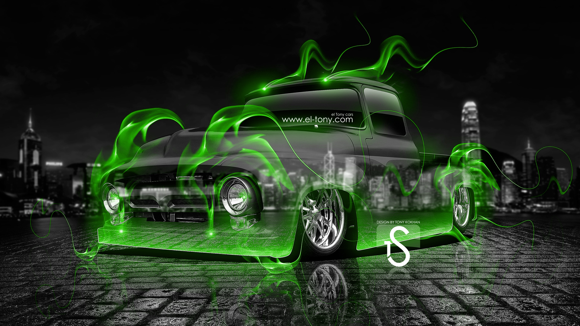 Ford F100 Truck Green Fire Crystal Car 2013  ...