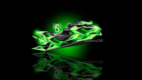 Jetski-Lamborghini-Lime-Fantasy-2013-HD-Wallpapers-design-by-Tony-Kokhan-[www.el-tony.com]