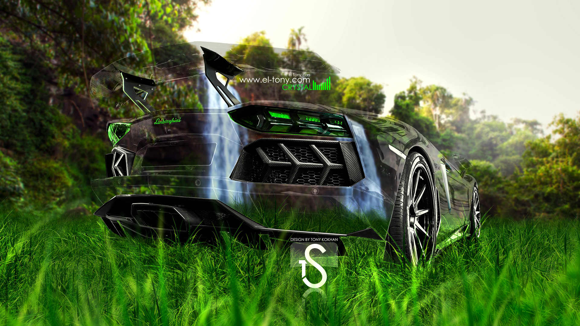 Marvelous Lamborghini Aventador Back Crystal Nature Car 2013 HD