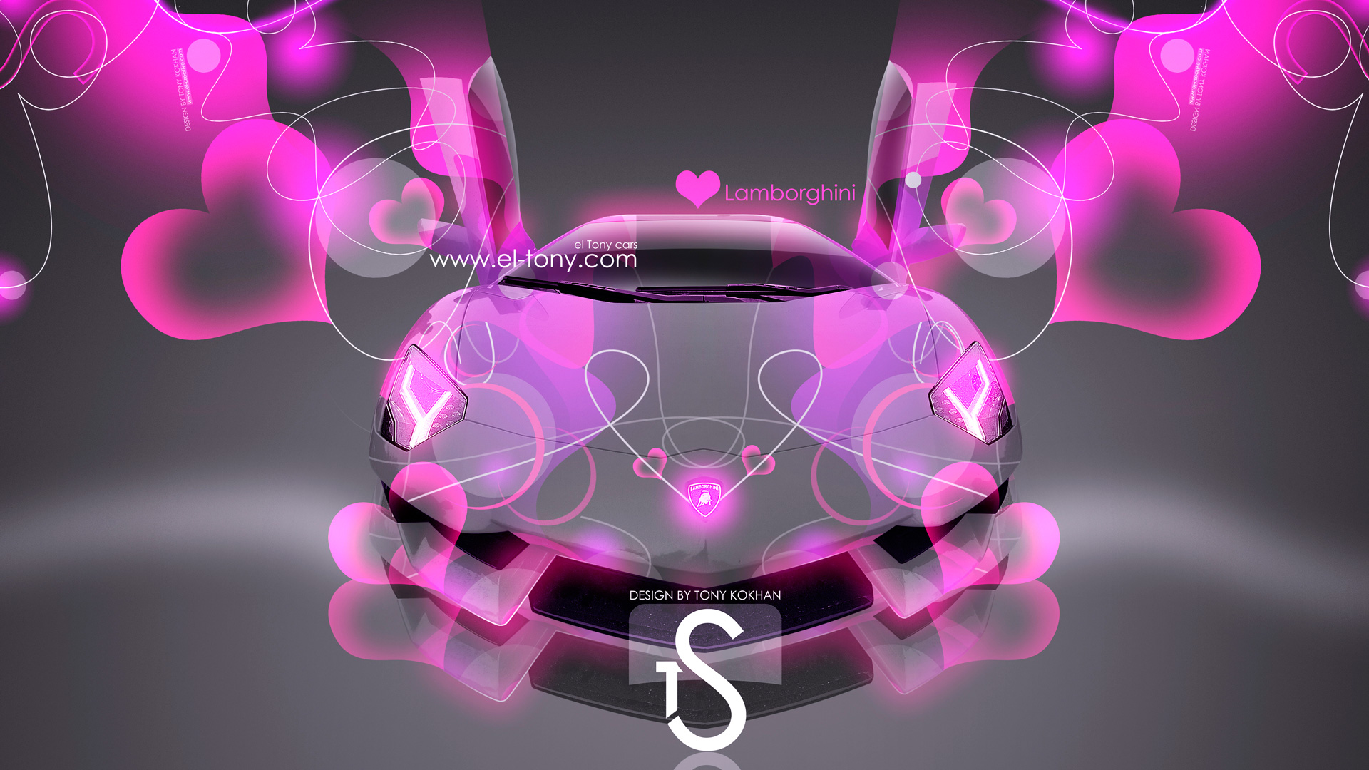 Lamborghini Aventador Pink Abstract Effects 2013 HD Wallpapers