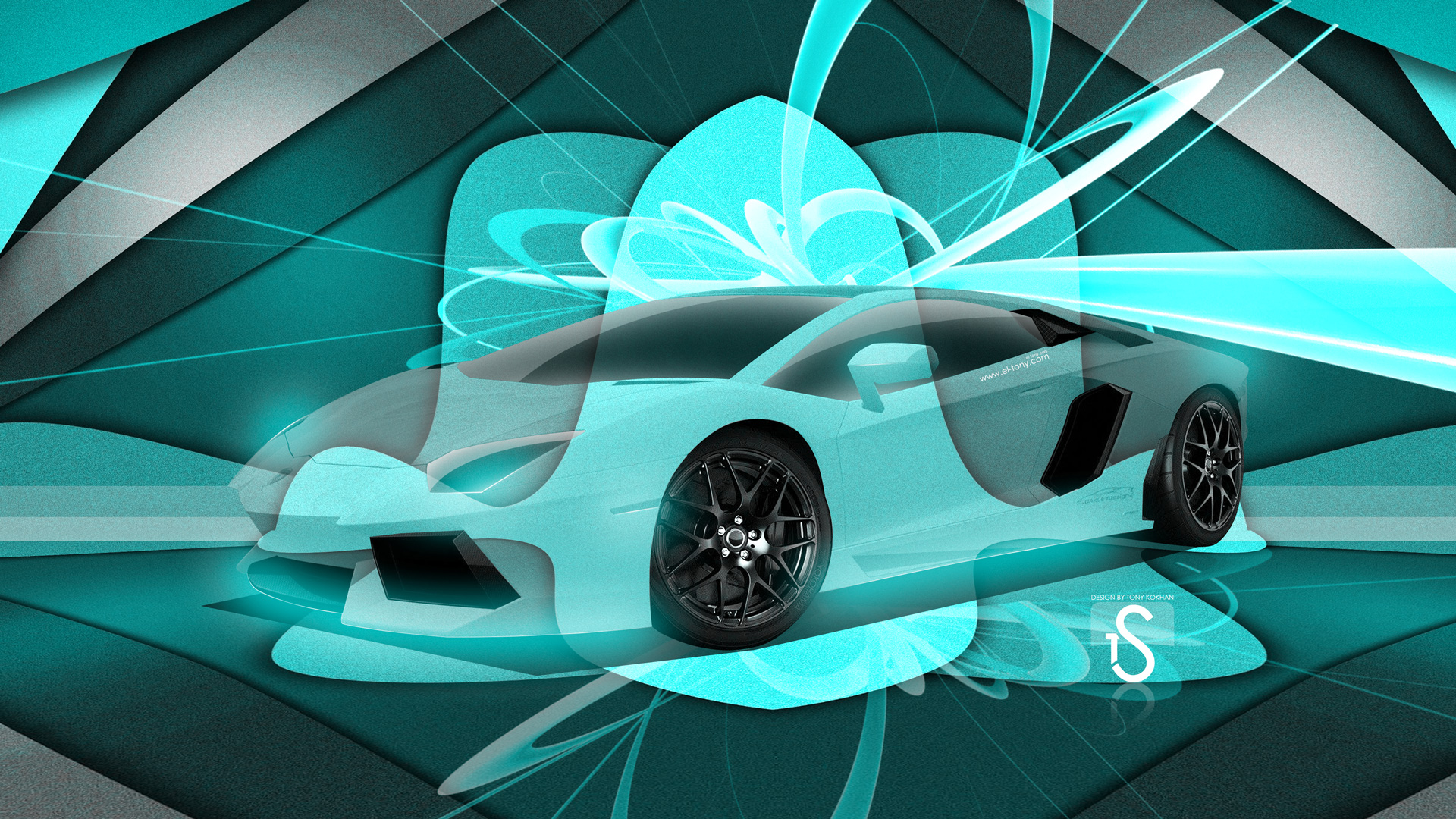 Lamborghini Aventador Super Abstract Turquoise Car 2013 Design .