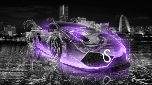Lamborghini-Gallardo-Water-Car-Violet-Neon-2013-HD-Wallpapers-design-by-Tony-Kokhan-[www.el-tony.com]