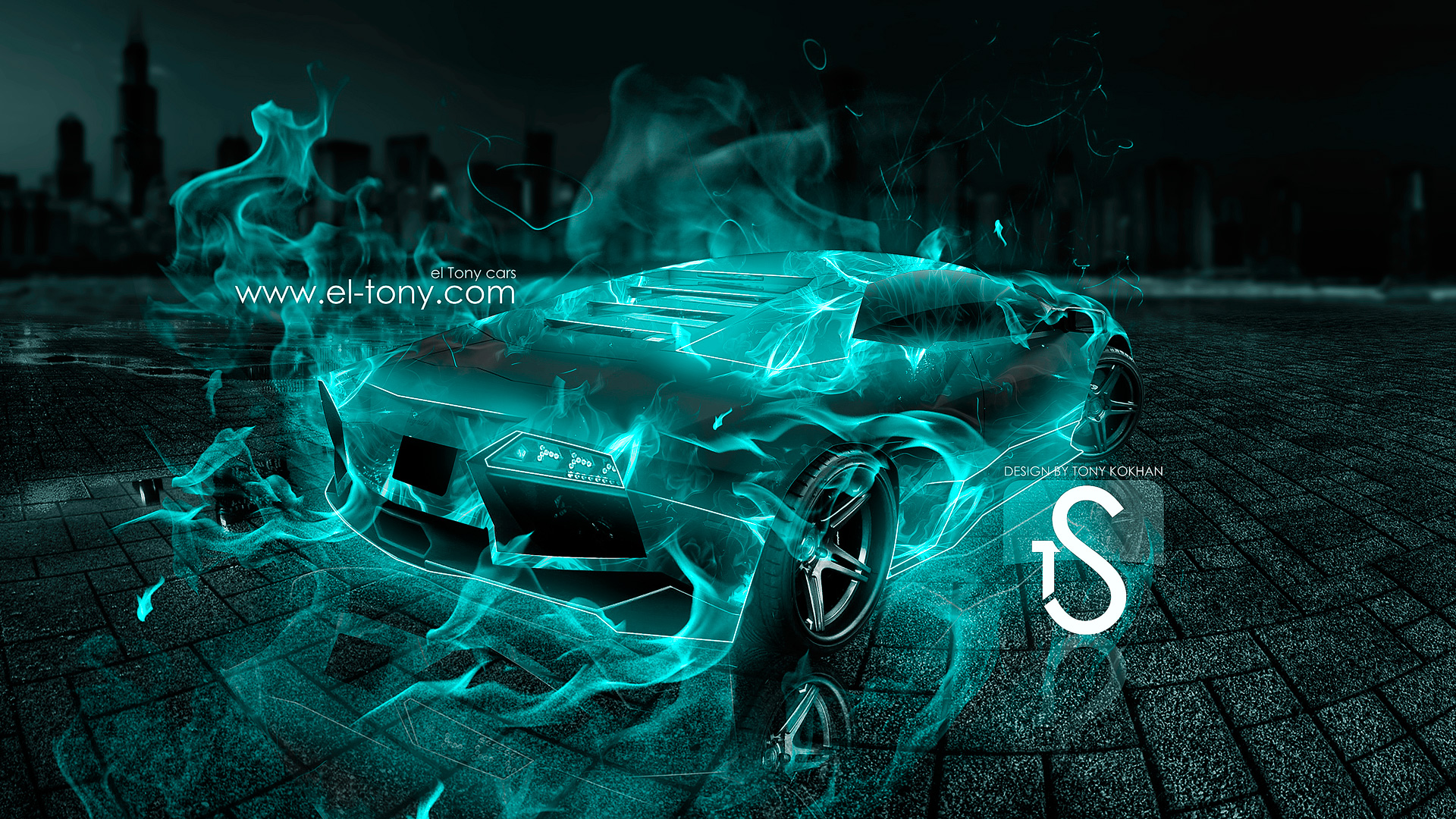 ... Lamborghini Reventon Turquoise Fire City Car 2013 HD  Design