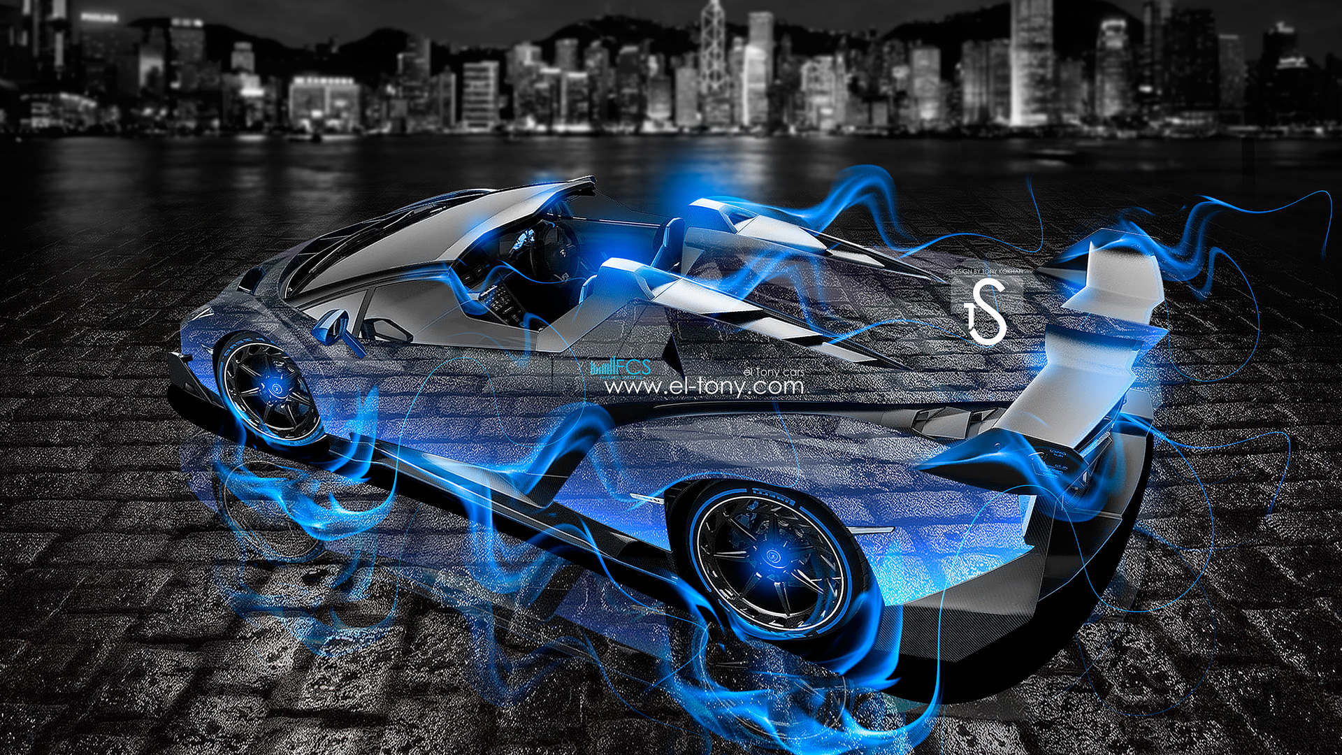 Merveilleux Lamborghini Veneno Roadster Blue Fire City Crystal Car