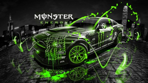 Monster-Energy-Ford-Mustang-GT-Fantasy-Green-Acid-2013-design-by-Tony-Kokhan-[www.el-tony.com]