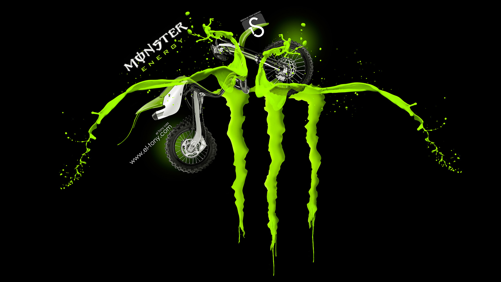Genial Monster Energy Logo Acid Green Fantasy Kawasaki Motocross