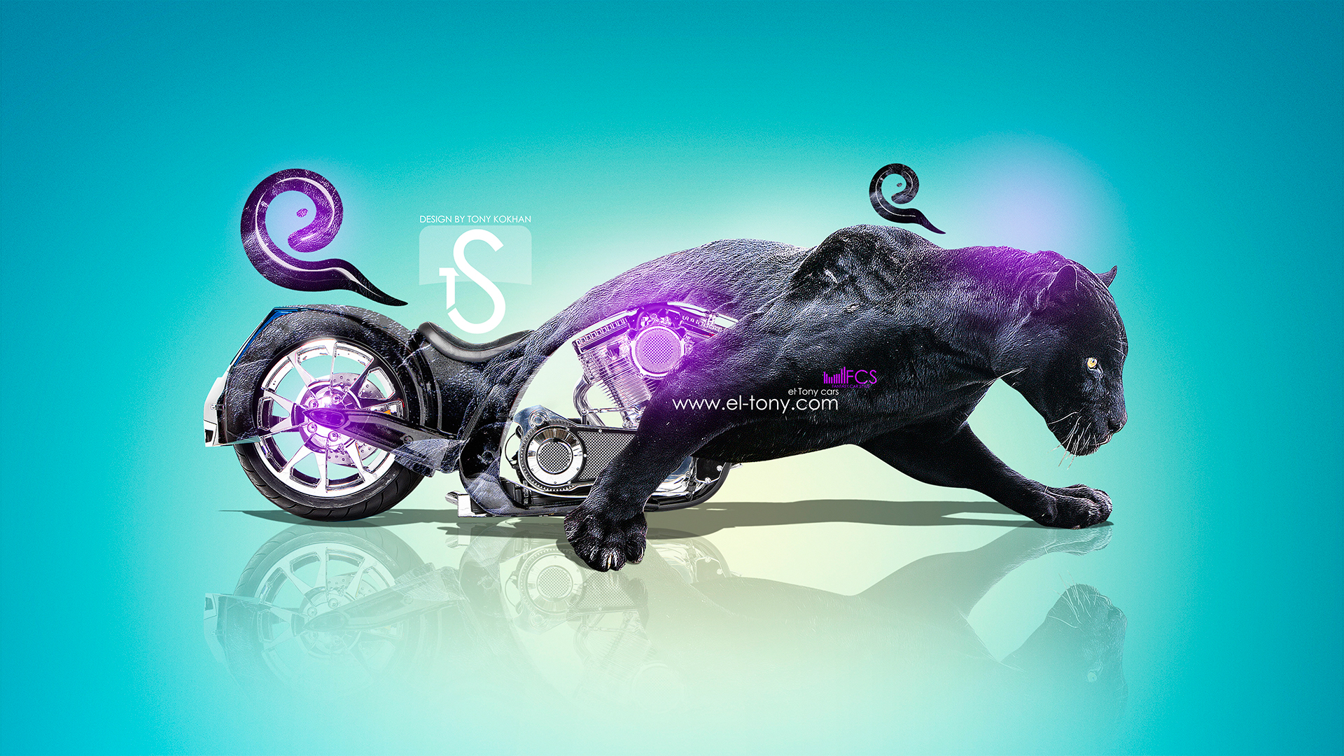 Bon Moto Chopper Fantasy Panther Violet Neon 2013 HD