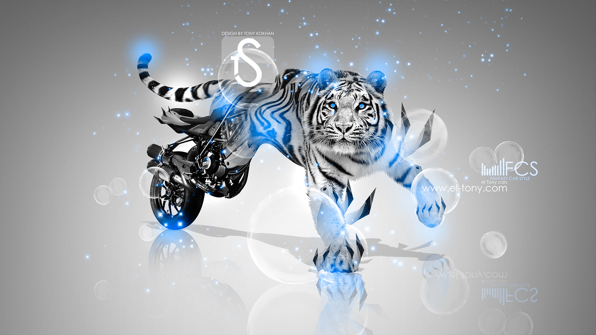 Superieur Moto Fantasy Tiger Ducati Streetfighter 848 Blue Neon  ...