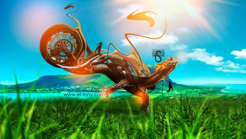 Moto-Fantasy-Turtle-Speed-Art-2013-Nature-Orange-Neon-HD-Wallpapers-by-Tony-Kokhan-[www.el-tony.com]