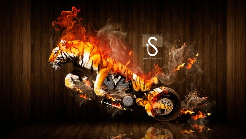 Moto-Tiger-Fire-Animal-Photoshop-Car-2013-HD-Wallpapers-by-Tony-Kokhan-[www.el-tony.com]