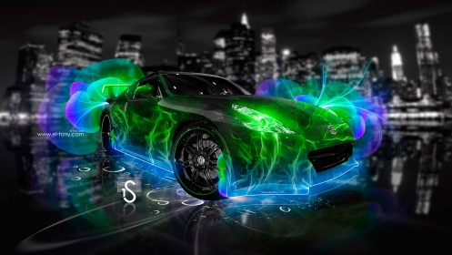 Nissan-370-Z-Abstract-Flowers-Neon-Green-2013-HD-Wallpapers-design-by-Tony-Kokhan-[www.el-tony.com]