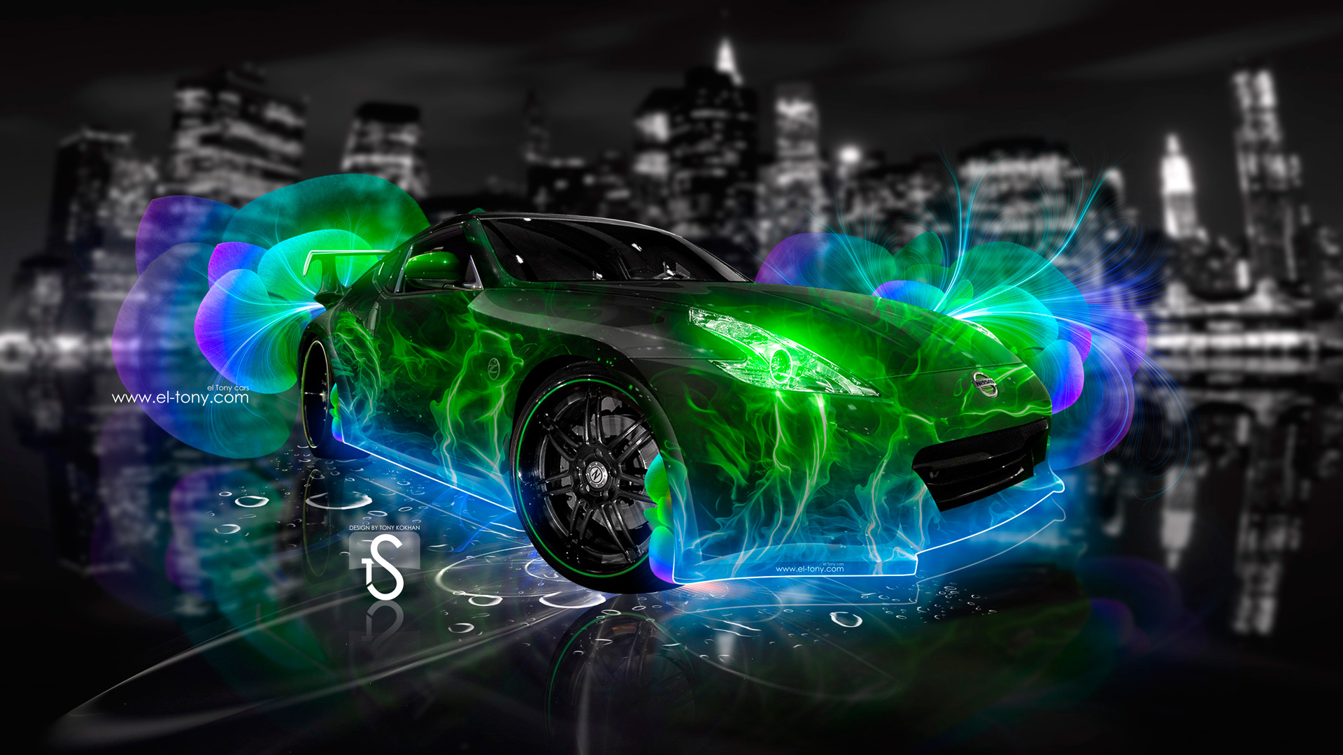 Exceptional Nissan 370 Z Abstract Flowers Neon Green 2013