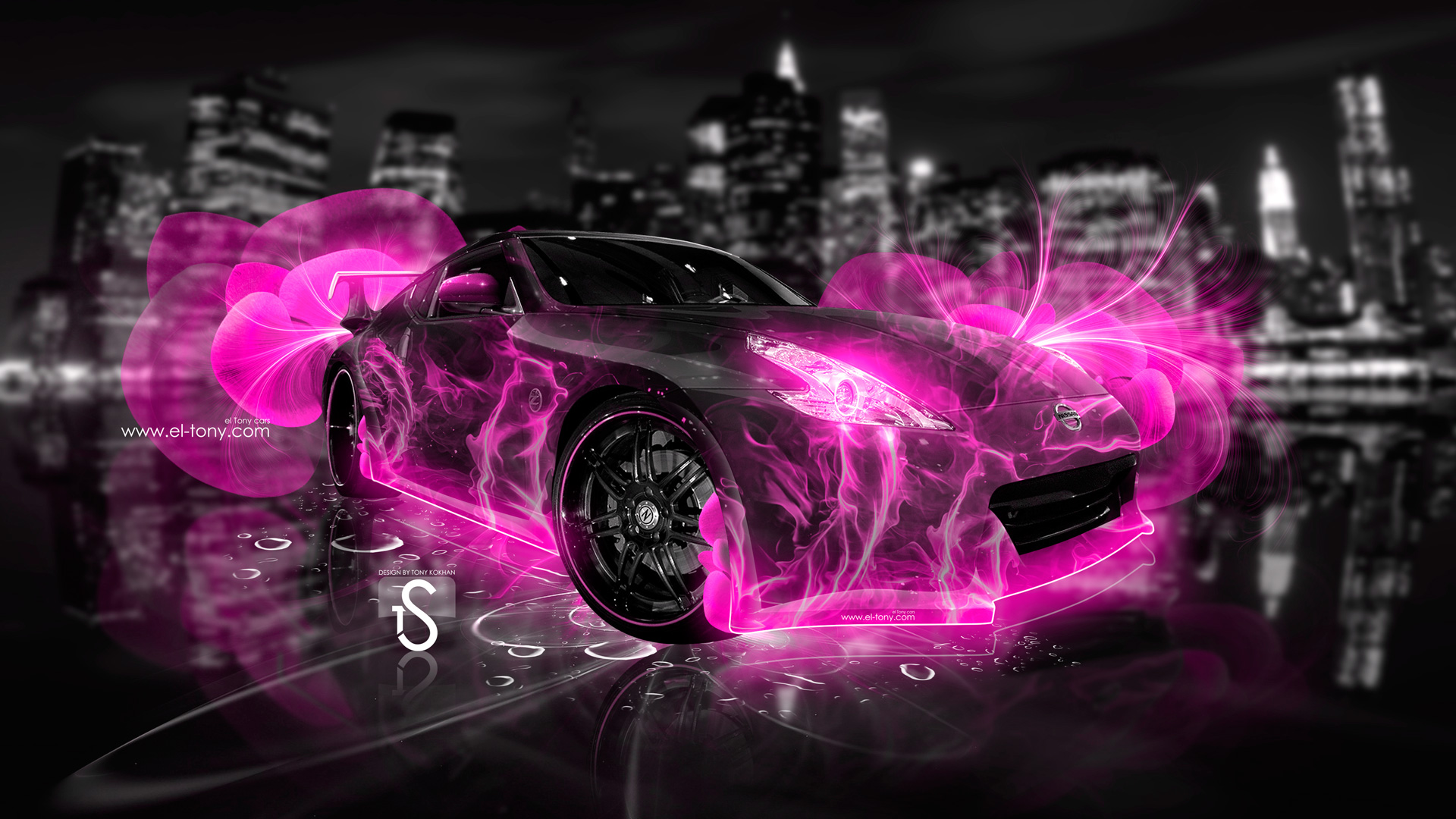 Charmant ... Nissan 370 Z Abstract Flowers Neon Pink 2013  ...