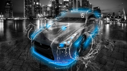 Nissan-GTR-R35-Water-City-Car-2013-Blue-Neon-HD-Wallpapers-by-Tony-Kokhan-[www.el-tony.com]