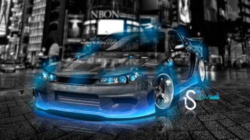 Nissan-Silvia-S15-Crystal-City-Car-Blue-Neon-2013-HD-Wallpapers-design-by-Tony-Kokhan-[www.el-tony.com]
