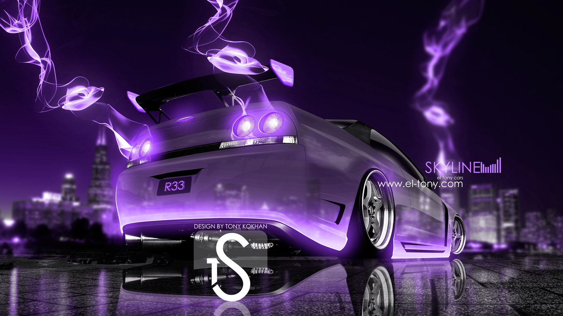 Delightful Nissan Skyline GTR R33 Crystal City Violet Energy
