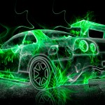 Nissan Skyline GTR R34 Fire Abstract Car 2013