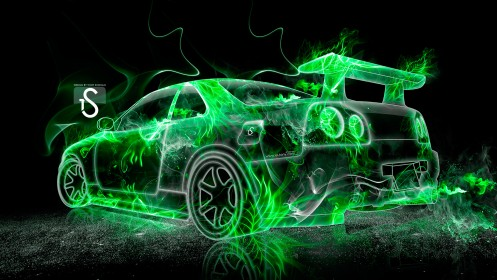 Nissan-Skyline-GTR-R34-Green-Fire-Abstract-Car-2013-HD-Wallpapers-by-Tony-Kokhan-[www.el-tony.com]
