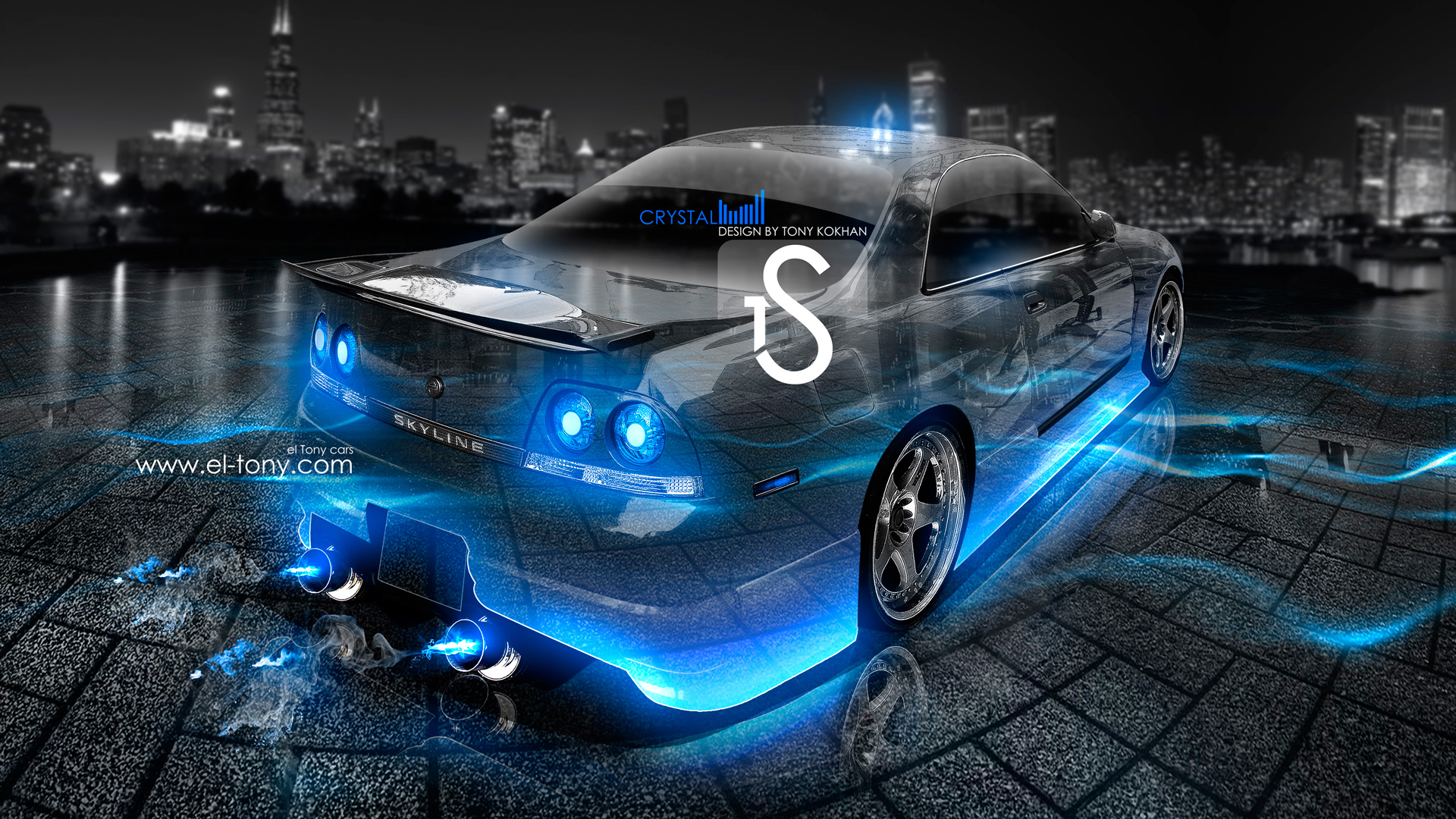 Great Nissan Skyline R33 JDM Crystal Car Blue Neon