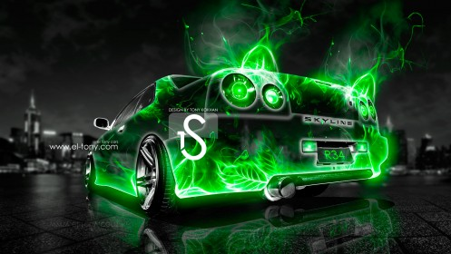 Nissan-Skyline-R34-Abstract-Car-City-2013-Green-HD-Wallpapers-design-by-Tony-Kokhan-[www.el-tony.com]