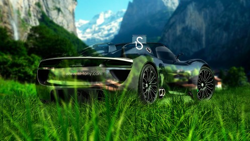 Porsche-918-Spyder-Crystal-Nature-Car-2013-Back-HD-Wallpapers-by-Tony-Kokhan-[www.el-tony.com]