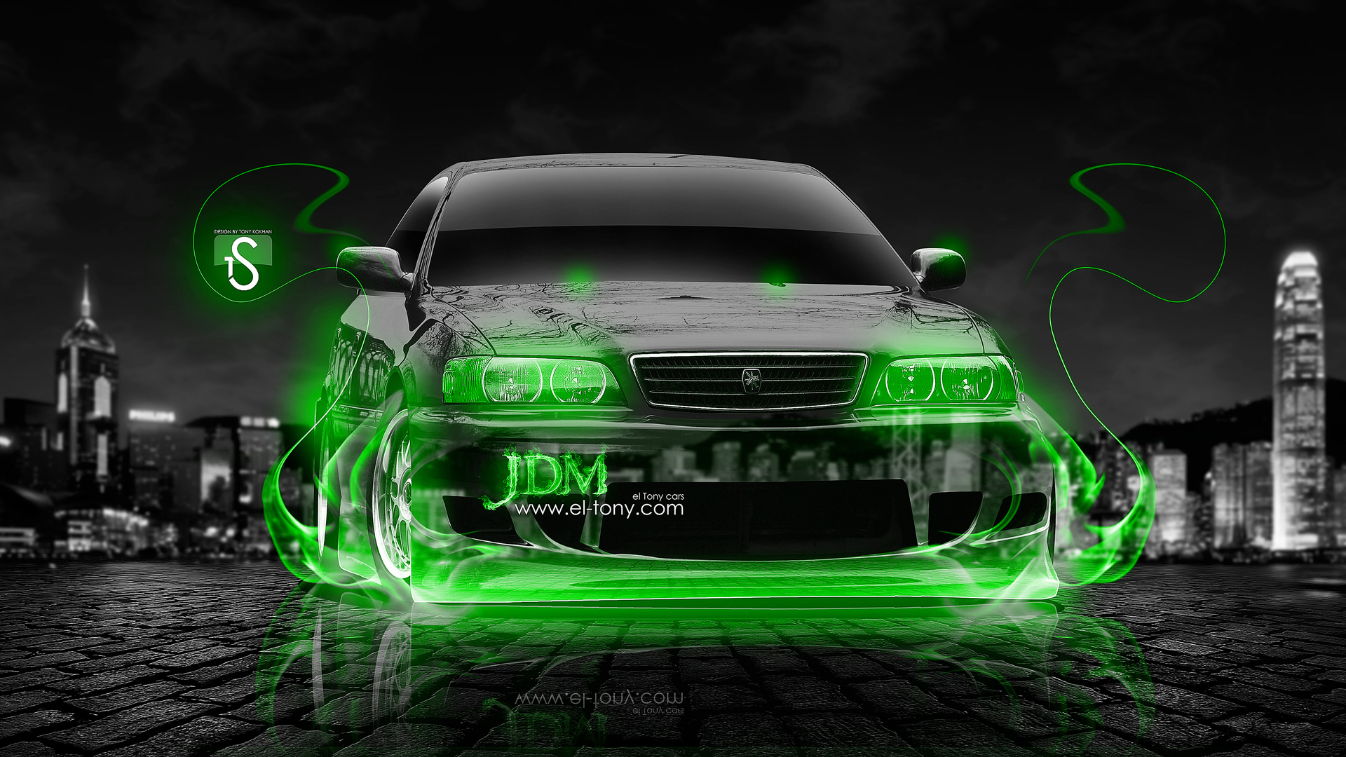 Toyota Chaser JZX100 JDM Green Fire Crystal Car  ...