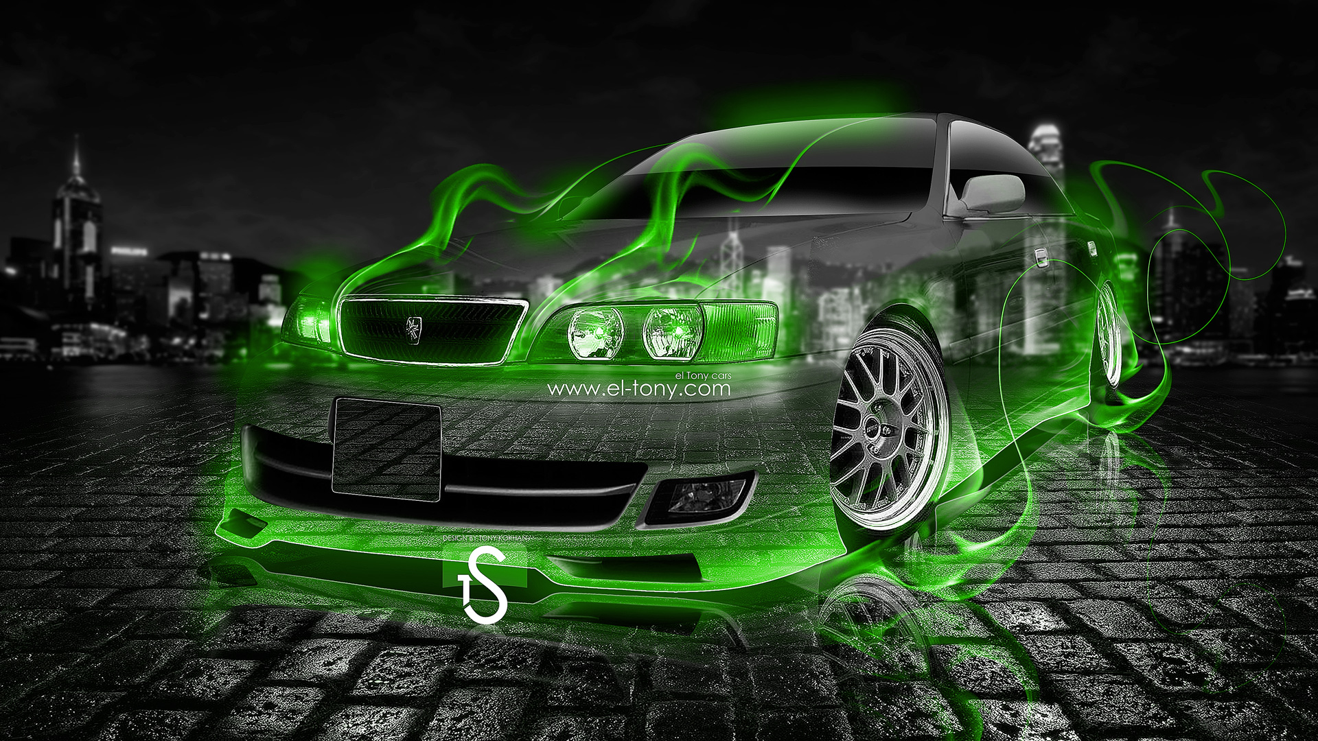 Toyota Chaser JZX100 JDM Green Fire Crystal Car .