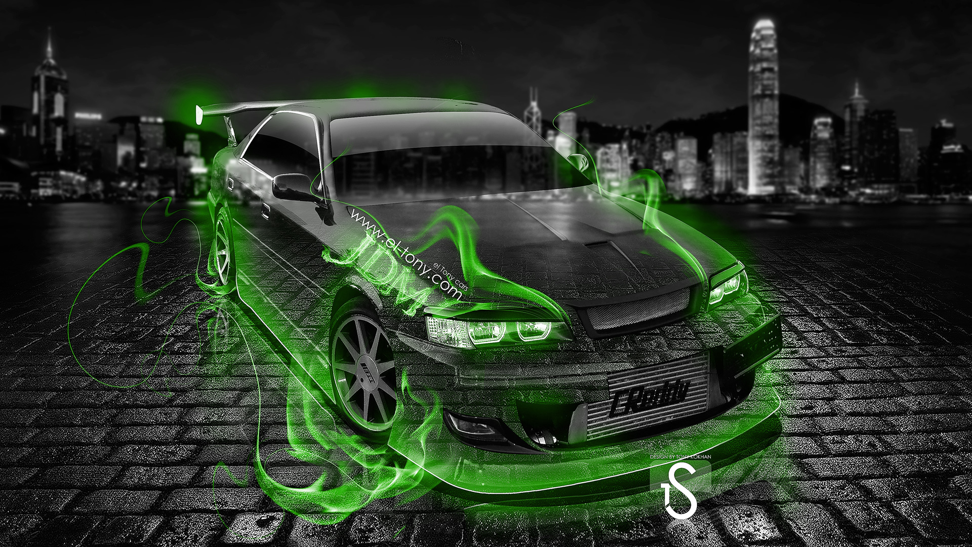 Superbe Toyota Chaser Tuning JZX100 JDM Green Fire Crystal .