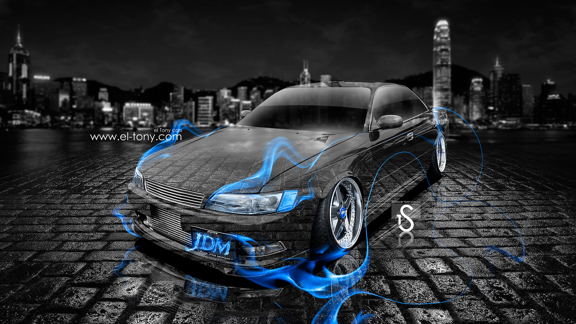 Charmant Toyota Mark 2 JZX90 JDM Tuning Blue Fire