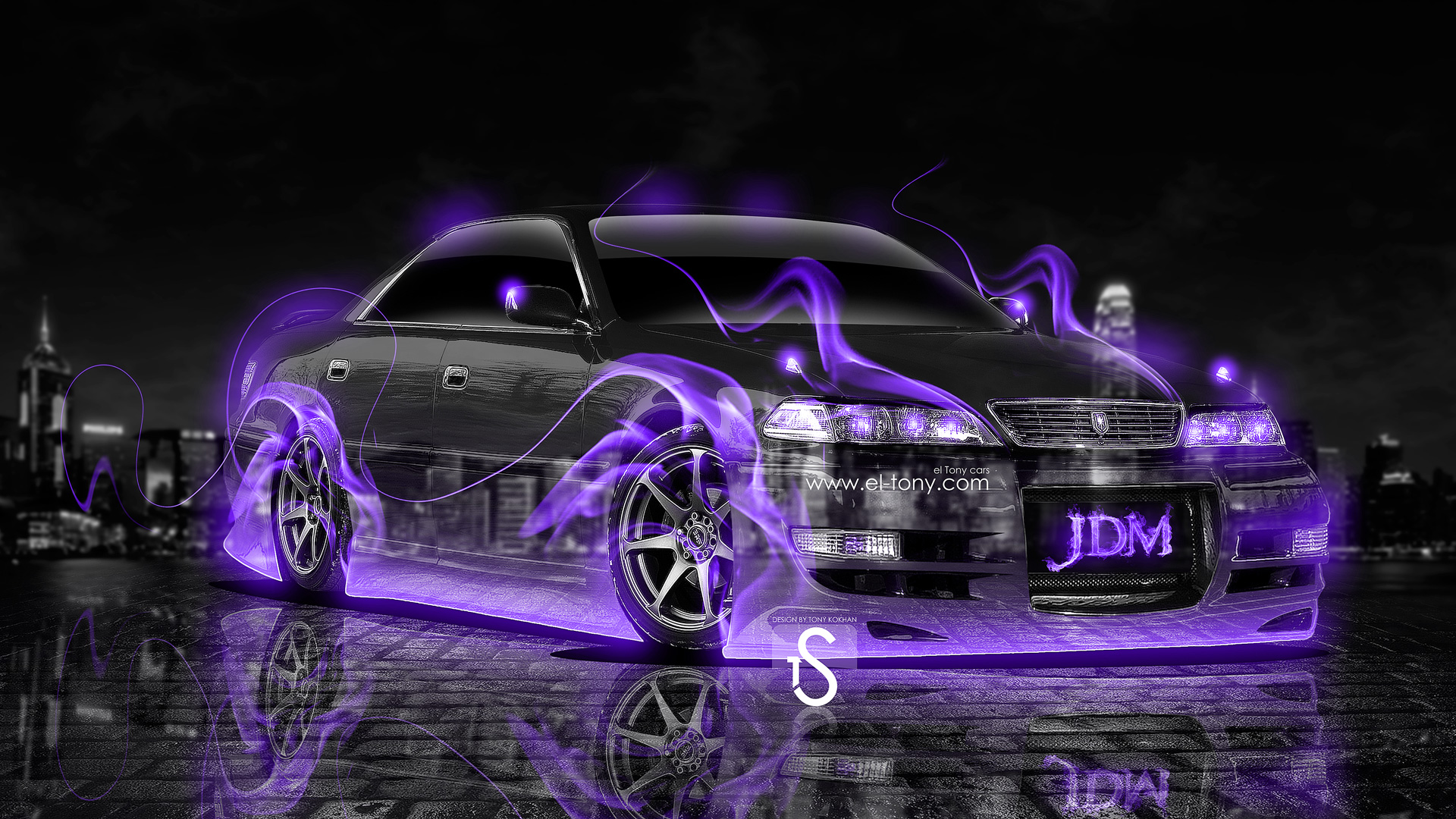 Beau Toyota Mark2 JZX100 JDM Violet Fire Crystal Car
