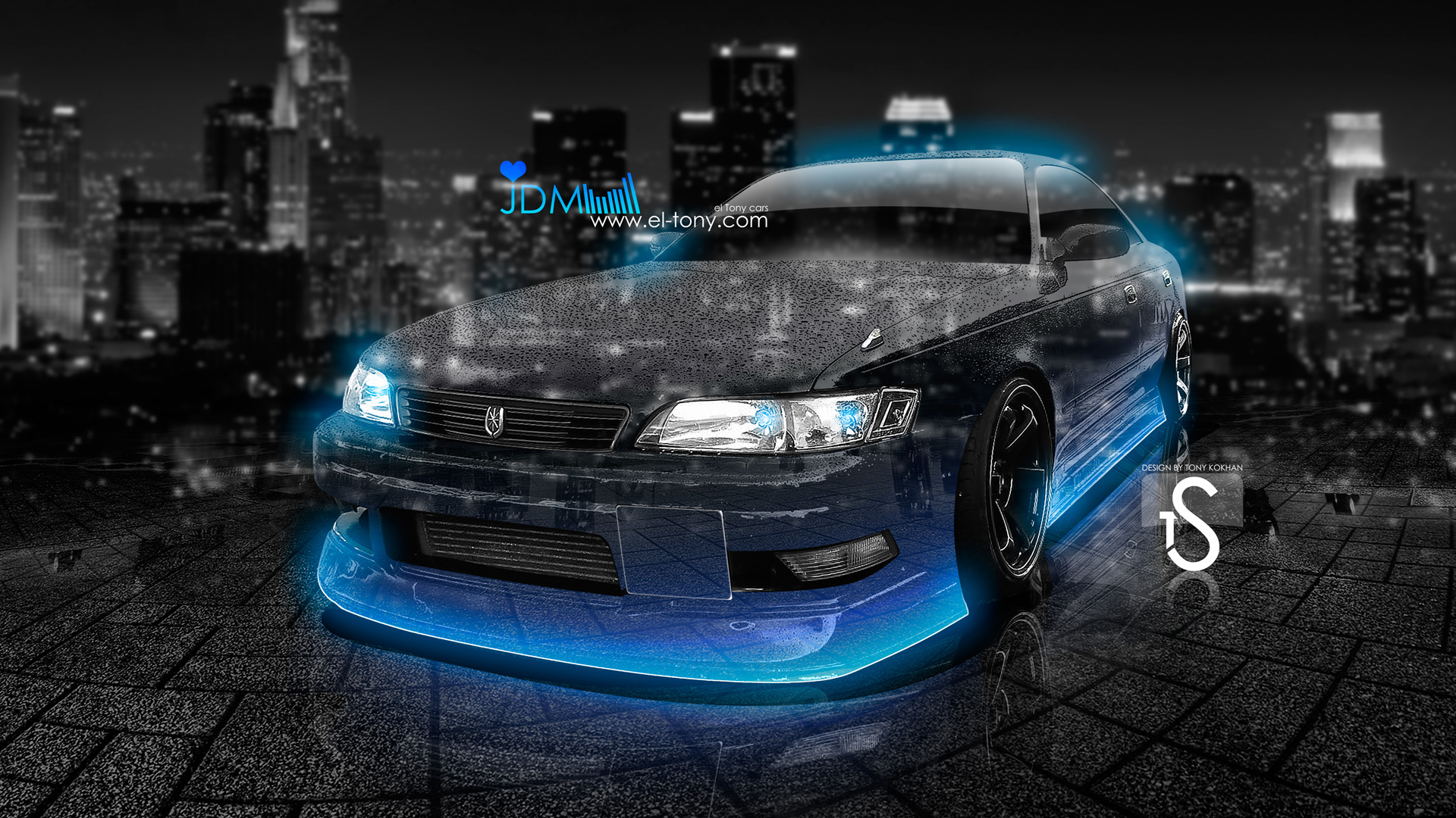 Toyota Mark2 JZX90 JDM Blue Neon Crystal City