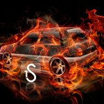Toyota Starlet Fire Abstract Car 2013
