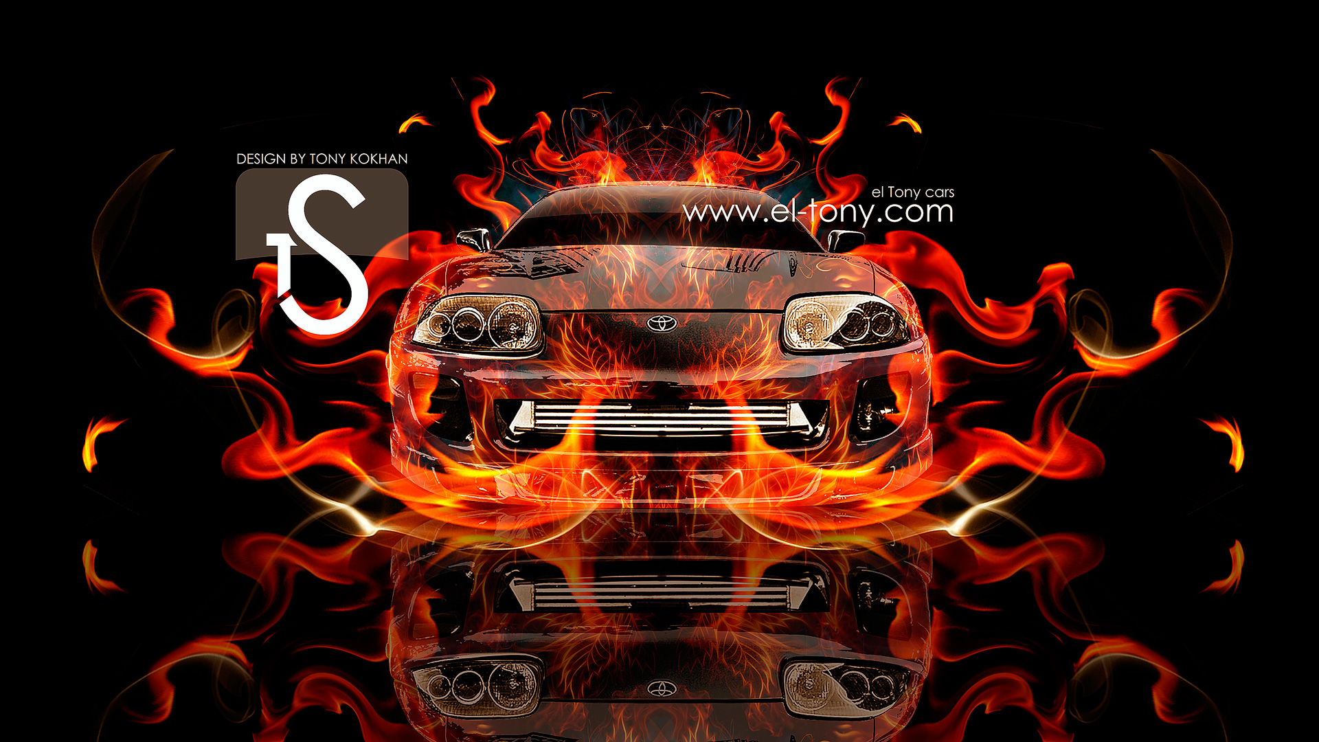 Toyota Supra Fire Car 2013 Front Abstract HD
