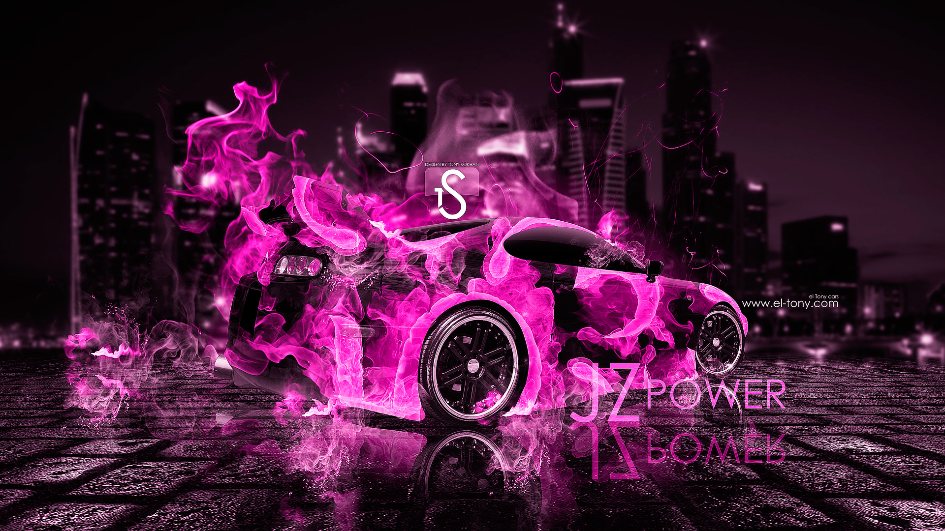 Toyota Supra Pink Fire Car 2013 Back City  ...
