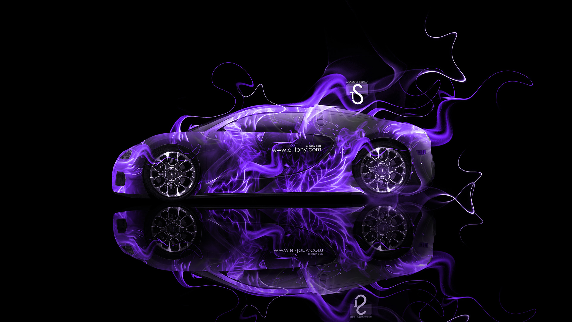 Perfect Bugatti Veyron Violet Fire Abstract Car 2013 HD