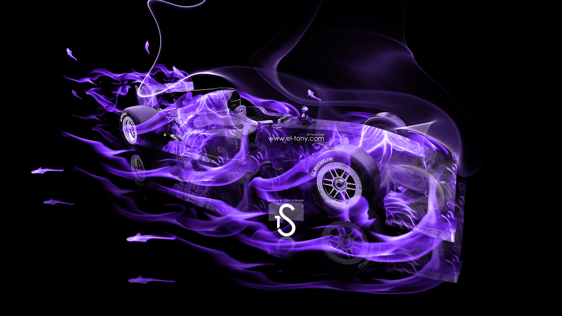 ... F1 Lotus Exos Violet Fire Abstract Car 2013