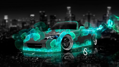 Honda-S2000-Turquoise-Abstract-Flowers-Car-2013-HD-Wallpapers-design-by-Tony-Kokhan-[www.el-tony.com]