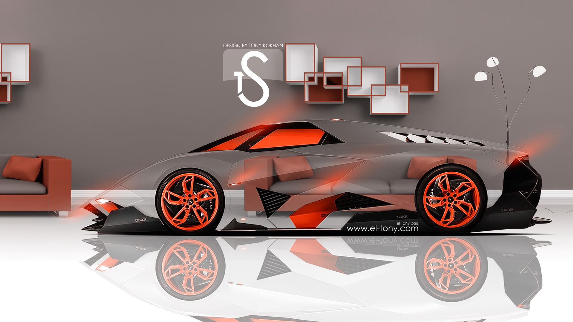 lamborghini egoista crystal home car 2013 orange neon