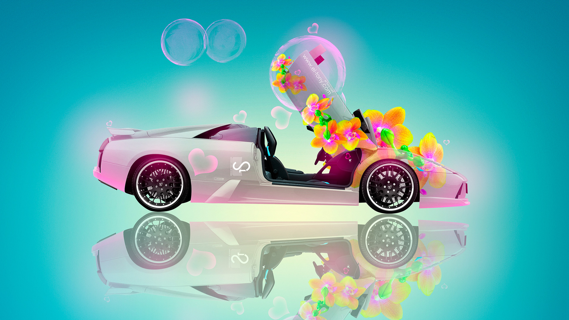 Lamborghini Murcielago Fantasy Flowers Car 2013 HD Wallpapers